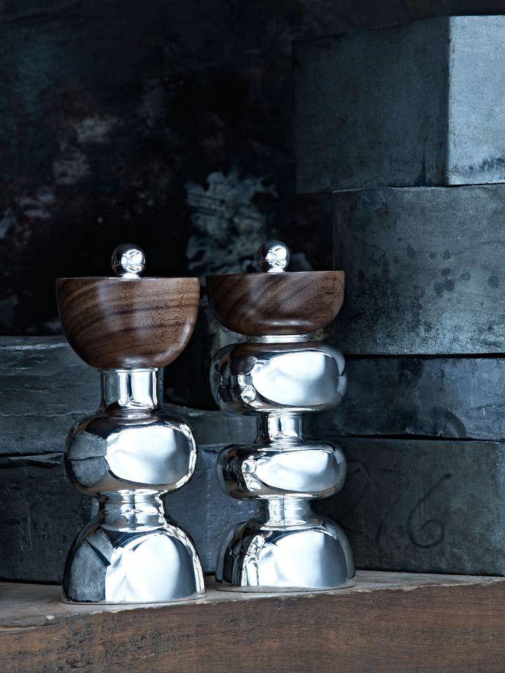 Molinillo de Sal y Pimienta Symmetry #TANE #BodoSperlein #plata #madera #orfebrería #hechoamano http://www.tane.com.mx/coleccion-bodo-sperlein/