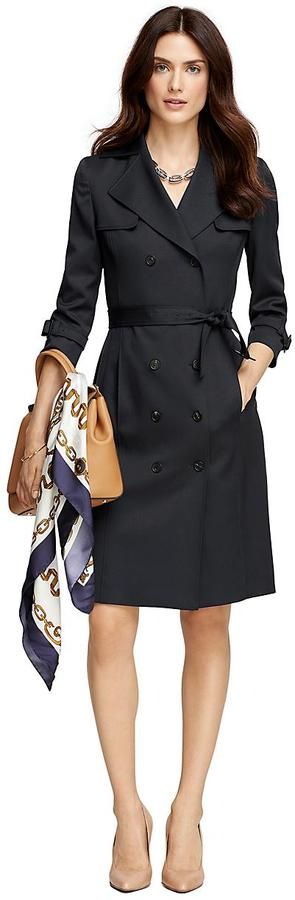 I like the classic lines and styling of this Wool Double-Breasted Trench Dress
