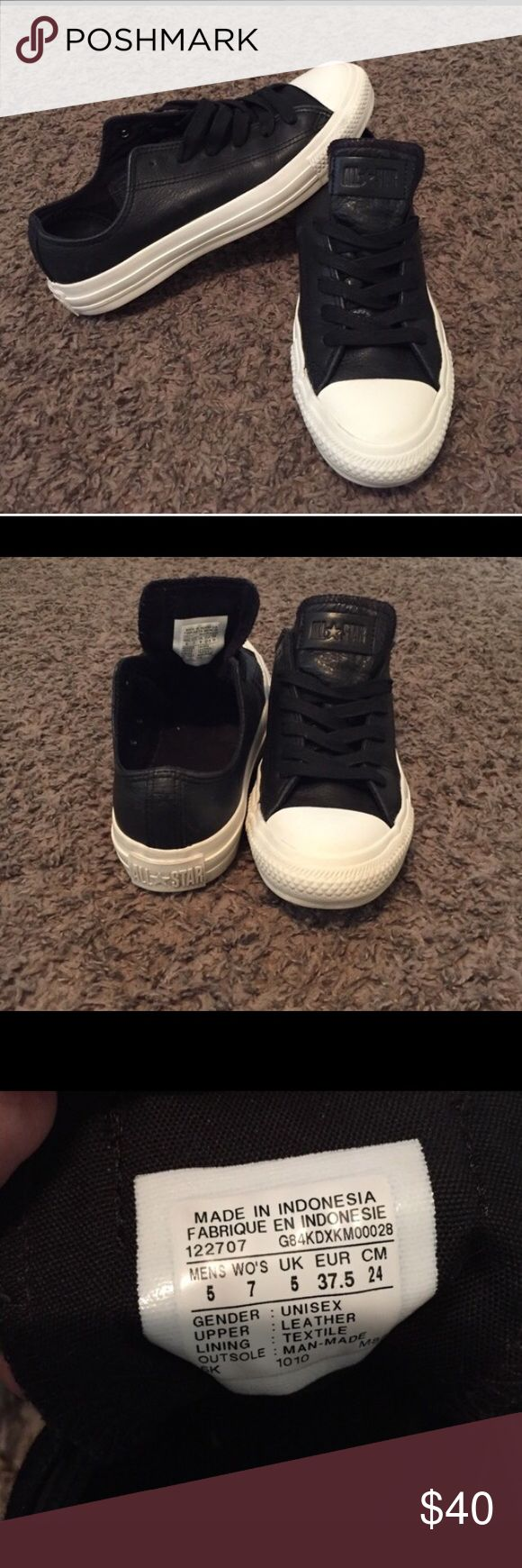 Leather converse Black leather chuck Taylor converse in really good condition. Size 5 men's/ 7 women's. Converse Shoes Sneakers