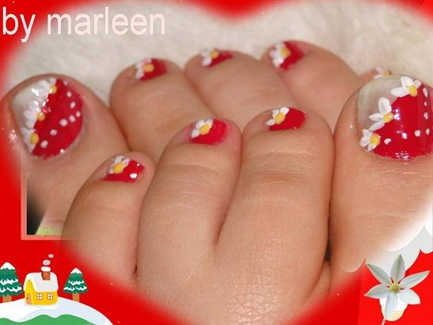 red$white flower by marleen - Nail Art Gallery nailartgallery.nailsmag.com by Nails Magazine www.nailsmag.com #nailart
