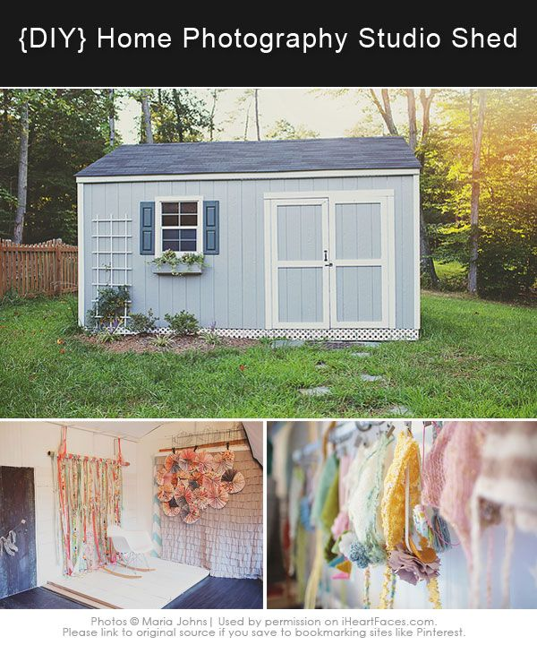 {DIY} Inspiring Home Photography Studio Shed via Maria Johns and iHeartFaces.com