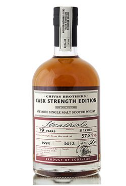A 1994 vintage from the Strathisla distillery, aged for 19 years. Bottled in 2013 as part of Chivas Brothers Cask Strength series; a range of Highland & Speyside single malt Scotch whiskies, bottled in limited quantities.  http://www.abbeywhisky.com/strathisla-19-year-old-1994-cask-strength-edition-chivas-brothers-whisky
