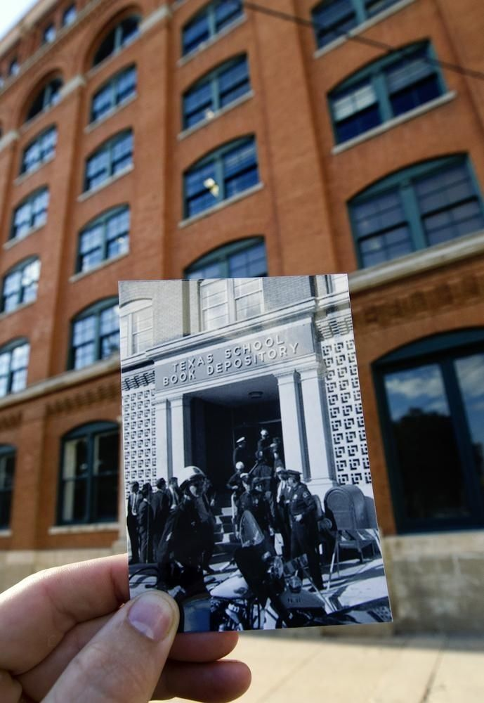 Police And Detectives Guard The Entrance Of The Book Depository After The Shooting | Haunting Photos Of JFK Assassination Landmarks, Then And Now