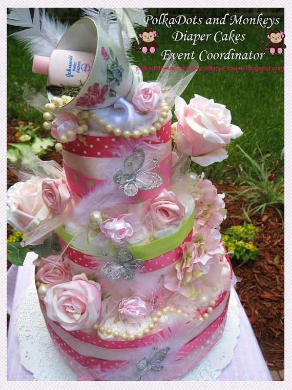 Tea Party diaper cake by PolkaDotsdiapercakes on Etsy, $155.00