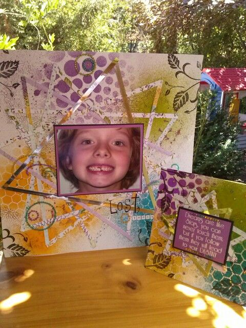 Page and card made by Kathryn James, Feb 2014, using dylusions, stamps, stencils and papers from Kaszazz.