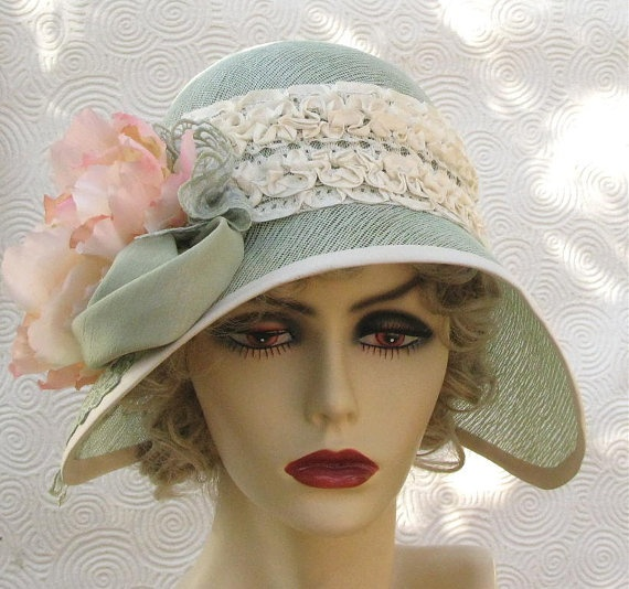 1920s garden tea party cloche in mint green cotton buckramMint Green, Hats Shape, Gardens Teas, Tea Parties, Vintage Hats, Green Cotton, Blue Flower, Gardens Parties, Teas Parties