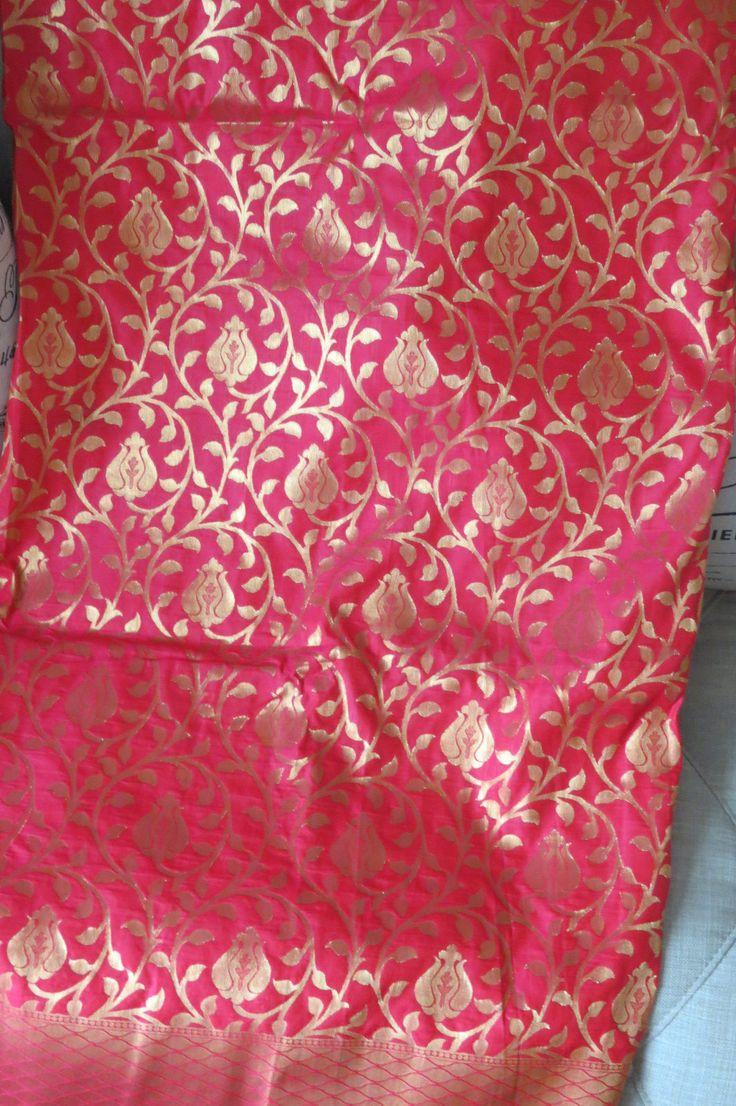 Kanchipuram silk sari in Red by ZainabBoutique on Etsy