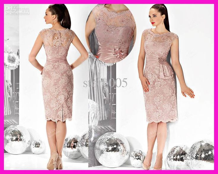 Wholesale Mother Bride - Buy Pink Cap Sleeve Short Beaded Lace Mother of the Bride Dresses Gowns E3107, $100.28 | DHgate