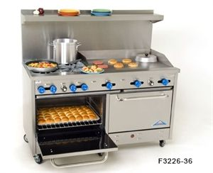 "Comstock Castle Range, gas, 60"" wide, (4) 24,000 BTU star burners w/12"" square cast iron grates, (1) 12"" - 3/4"" thick griddle w/manual controls, (1) 24"" char-broiler w/iron radiants, (2) standard ovens w/enamel lining, s/s exterior & 7"" high backguard, 6"" s/s legs"