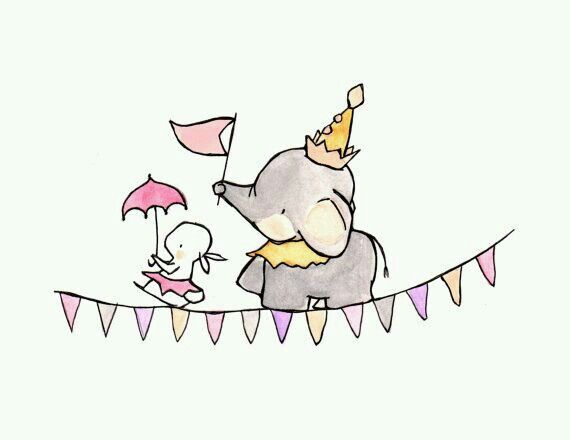 Cuadros infantiles. Dulce imagen. Elefante y conejo de festejo