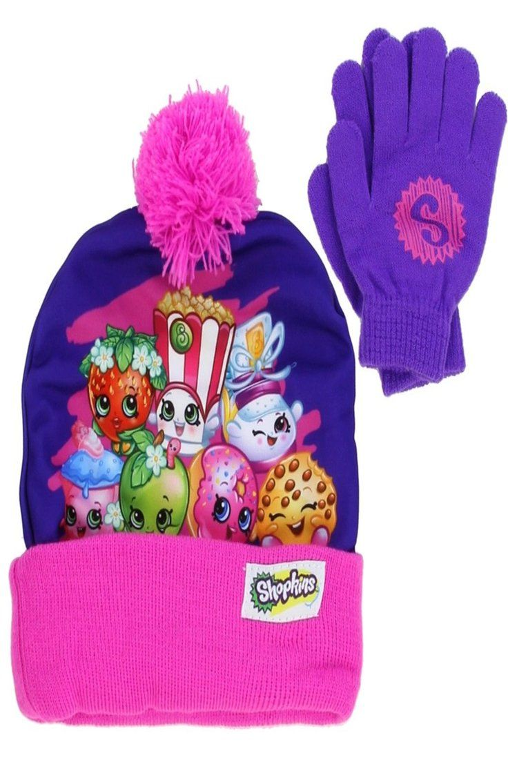 15ac6be00 10.99 | Shopkins Girls Purple Beanie Hat and Gloves Set [4013 ...