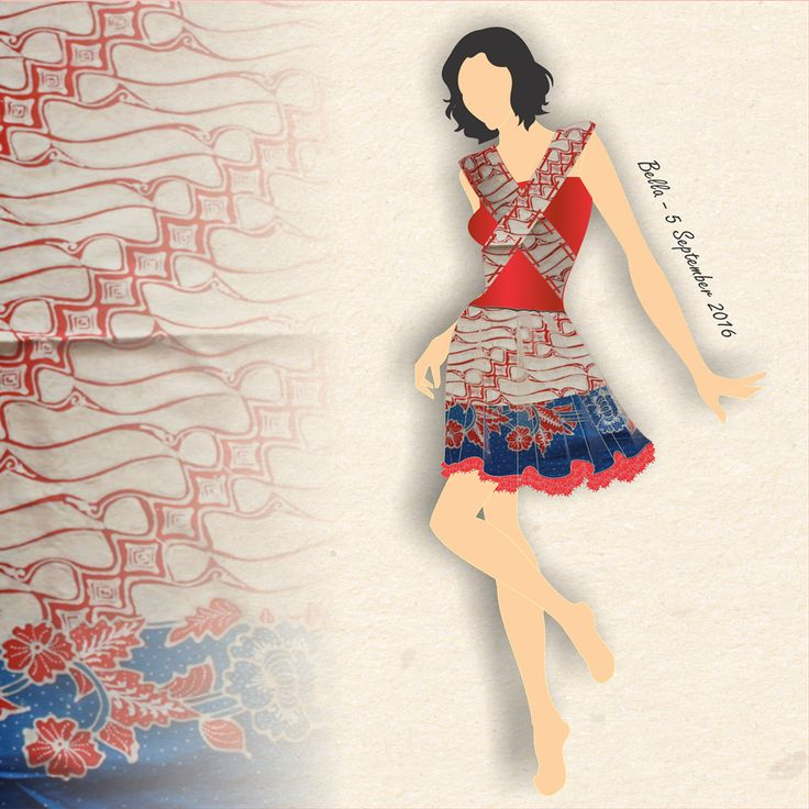 This mini dress design is becoming more beautiful with motif from batik ketepeng solo.