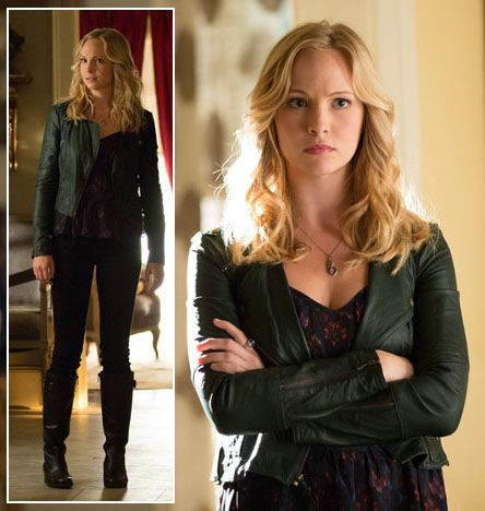 Caroline's black leather jacket and boots on The Vampire Diaries.  Outfit Details: http://wornontv.net/6704/