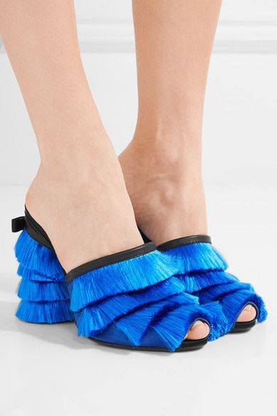 Heel measures approximately 105mm/ 4 inches Bright-blue and black satin, black leather Slip on Made in ItalySmall to size. See Size & Fit notes.