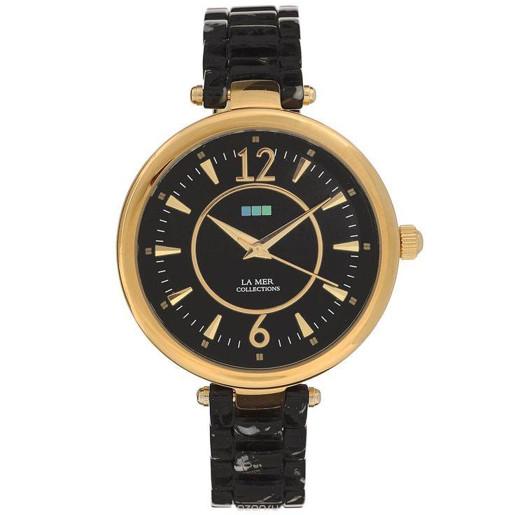 Часы наручные женские La Mer Collections Gold Black/Silver Black Dial. LMSICILY005