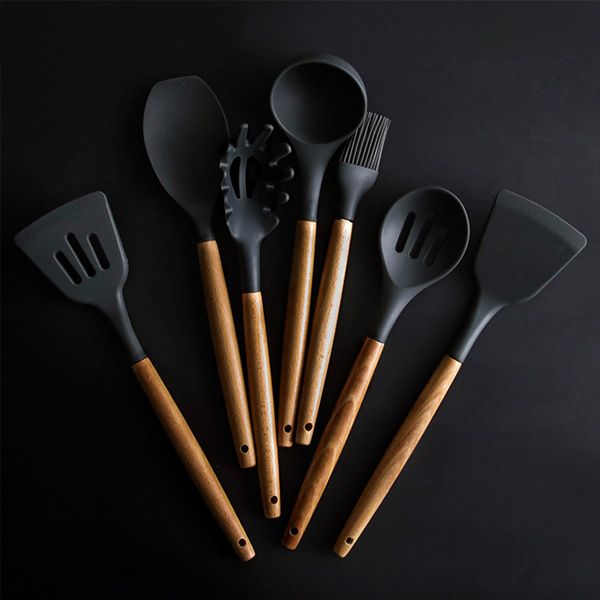Rustic Kitchen Utensils With Wooden Handles Various Colors Silicone Cooking Utensils Kitchen Utensil Set Silicone Kitchen Tools