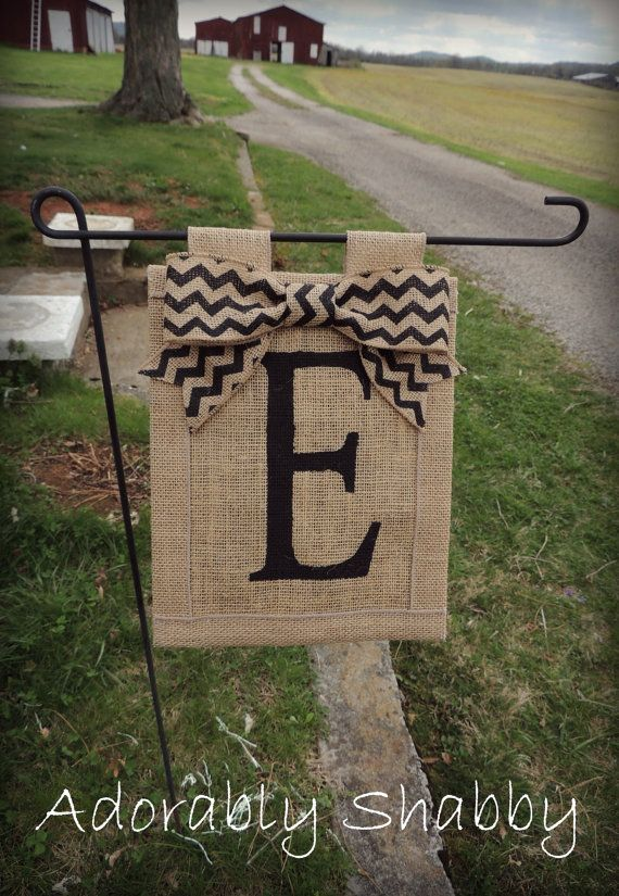 Personalized Burlap Flag with Chevron Burlap Bow- Double Sided via Etsy