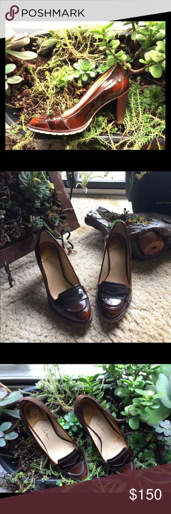 """Cole Haan High Heel Loafer Cole Haan High Heel Loafer  Size 7.5B Cushioned with Nike Air Brown, shiny, metallic color Heel 3"""" In great condition. Only worn a couple times. Cole Haan Shoes Heels"""