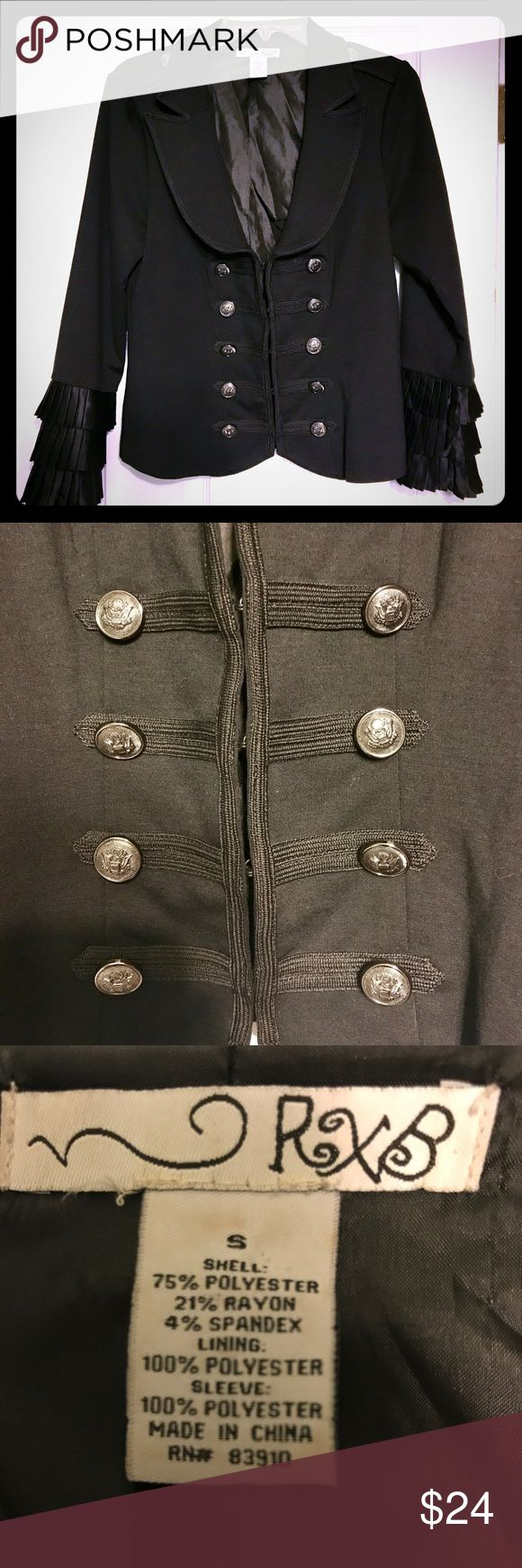 RXB black military style jacket. Size small Very pretty RXB black jacket.  Military style. Sleeve ruffles. Fully lined. Silver button accents on front and shoulders. Hook and eye front closures. In excellent condition! Thanks for looking!  RXB Jackets & Coats Utility Jackets
