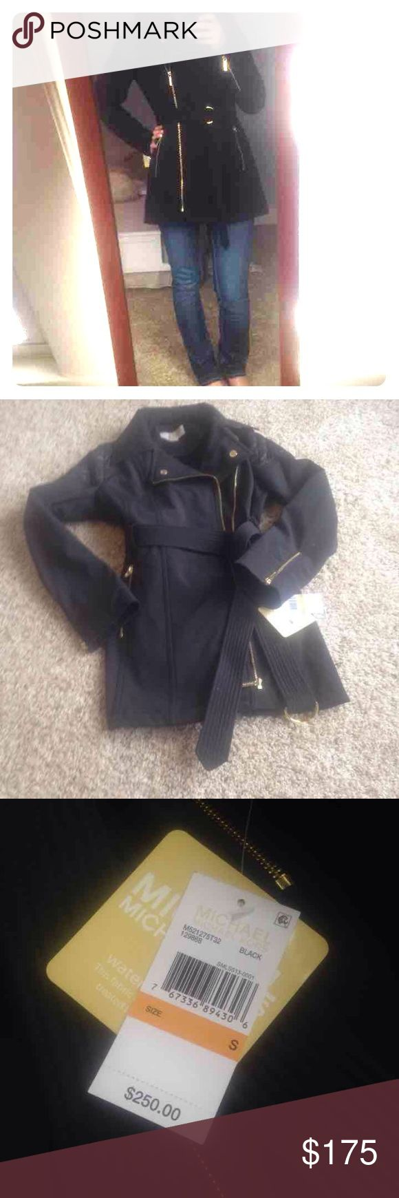 Michael Kors Water Resistant coat size small Super cute with gold details and quilted details on shoulders.  Brand new with tags.  Retail value $250 Michael Kors Jackets & Coats Pea Coats
