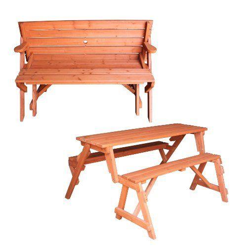 FoxHunter Garten Holz faltbar Picknick Tisch Bank 2 in 1 mit Sonnenschirm-Loch Outdoor Möbel FHTB01: Amazon.de: Garten