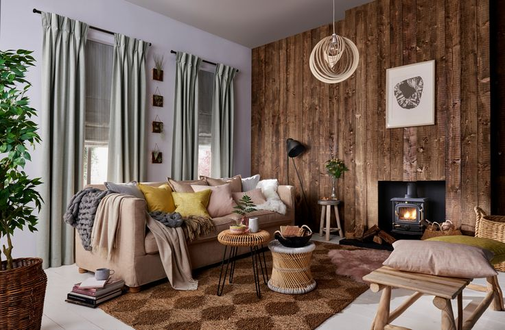 This is my interpretation of Modern Rustic for Hillarys. I love how comforting and inviting this rooms looks. It makes me want to hunker down on that sofa and get cosy under all the layers. - Emily Henson #IWANTTHATSTYLE