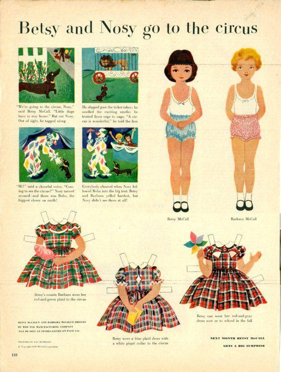Vintage Betsy McCalls School Thanksgiving Paper Doll
