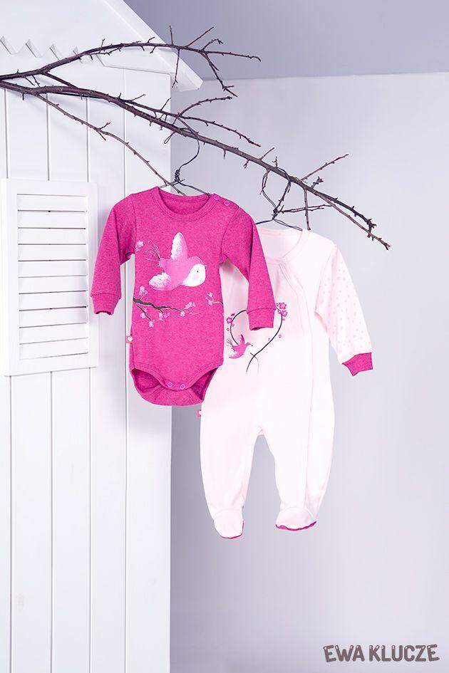 EWA KLUCZE, kolekcja BIRD, pajac różowy, body melanżowe, jesień-zima 2018, ubranka dla dzieci, EWA KLUCZE, BIRD collection, baby girl playsuit, bodysuit, baby clothes
