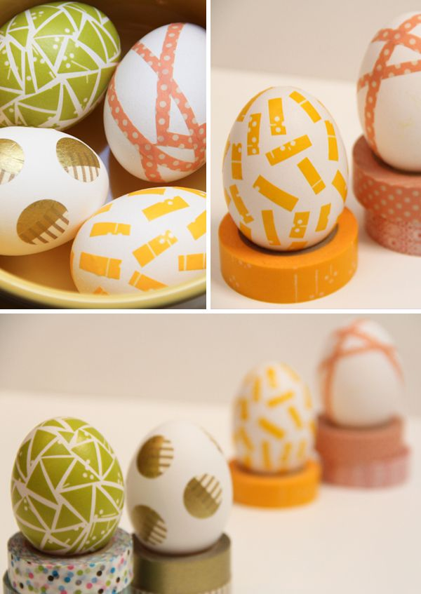 diy washi tape easter eggs.  no dye needed.  Just washi tape and a pair of scissors, and the eggs.