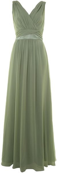 Ariella Green Chiffon Waist Detail Dress SAGE