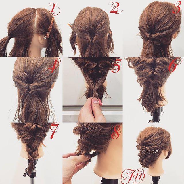 フォロワーさんリクエスト★ クルリンパだけのミディアムまとめ髪✨ 1,横と後ろを分け耳より少ししたぐらいの髪を結びます 2,結んだ髪をくるりんぱします 3,横の髪を2番の上で結んでくるりんぱします 4,3番の毛先は2番のくるりんぱの中に入れます 5,余った髪を結びます 6,くるりんぱします 7,三つ編みを作ります 8,三つ編みの毛先を写真のように下に入れピン留めします Fin,崩したら完成です 動画は編集出来次第postします★ 参考になれば嬉しいです^ ^ #ヘア#hair#ヘアスタイル#hairstyle#サロンモデル#サロンモデル撮影#サロンモデル募集#撮影#編み込み#三つ編み#フィッシュボーン#ロープ編み #アレンジ#SET#ヘアアレンジ#アレンジ動画#アレンジ解説#香川県#高松市#丸亀市#宇多津#美容室#美容院#美容師#berry
