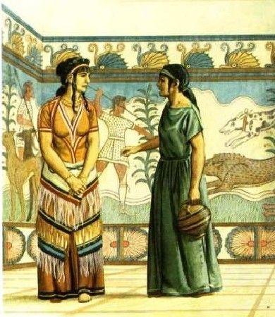 La época micénica que fue muy influenciada por la cretense, pero incluía piezas en cuero, e incluso en ocasiones, de metal.