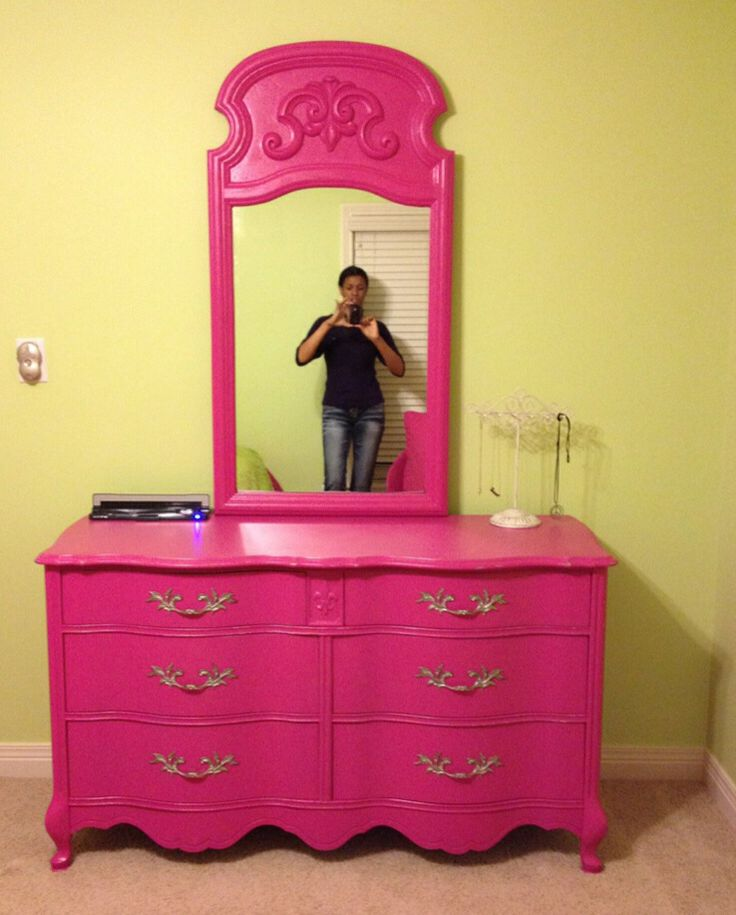 Hot Pink French Dresser With Mirror By Radioactive Interiors Please Help Support Our Small Business Share And Like Page To Us G