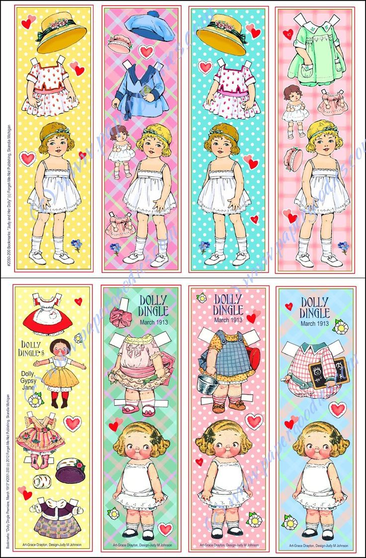 Bookmarks to Cut and Use: Double Dollies Paper Dolls: Judy M Johnson: Amazon.com: Books