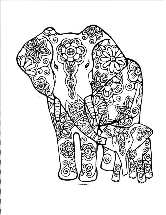 adult coloring pageoriginal hand drawn art in black and white instant digital download image of an elephant mother and baby