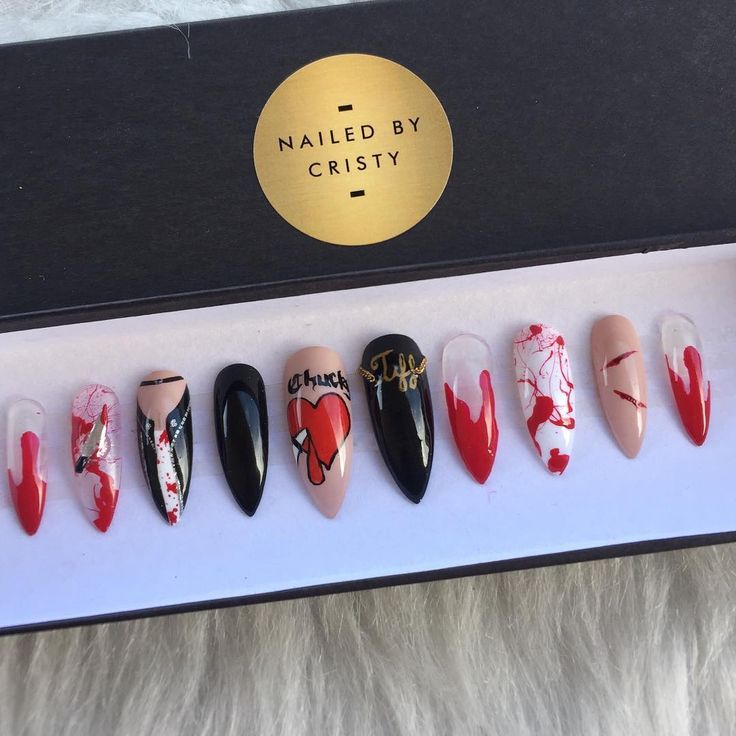 I have 1 set of Bride of Chucky #pressonnails in size Medium, Long Stiletto (pictured) ready to ship available for $35. First to send me a DM, can have them. #brideofchucky #Halloween #halloweennails #halloweennailart #Chucky #childsplay #bloodynails #stilettonails #nailart #nails #fakenails #instanails #nailstagram #slay #longnails #nailsofinstagram #naildesign