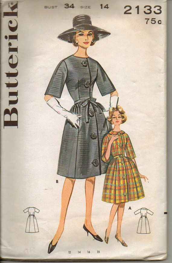 1960s Vintage Sewing Butterick Pattern No 2133 of by cornehl, $12.001960S Fashion, Année 1960, 1960S Vintage