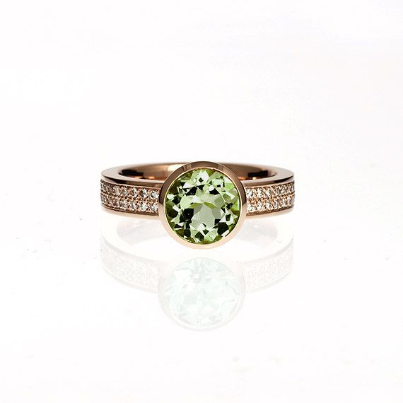 Wide rose gold engagement ring with Peridot and diamonds by TorkkeliJewellery, $4285.00