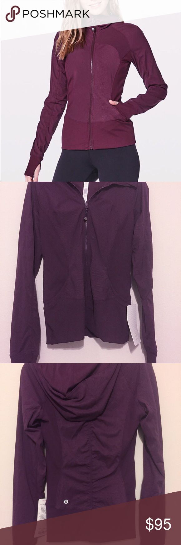 Lululemon Reversible In Flux Jacket. Plum. New! Very stylish jacket with Ribbed Side Panels Let You Twist And Turn, Thumbholes Help Keep Your Sleeves In Place And Hands Warm, Tight Fit, Sits Right Against Your Body For Easy Layering, Hip Length, stays Out Of Your Way And Moves With You. Size 6. Color Plum.   Reversible Design  Lets You Practice The Power Of Choice! lululemon athletica Jackets & Coats