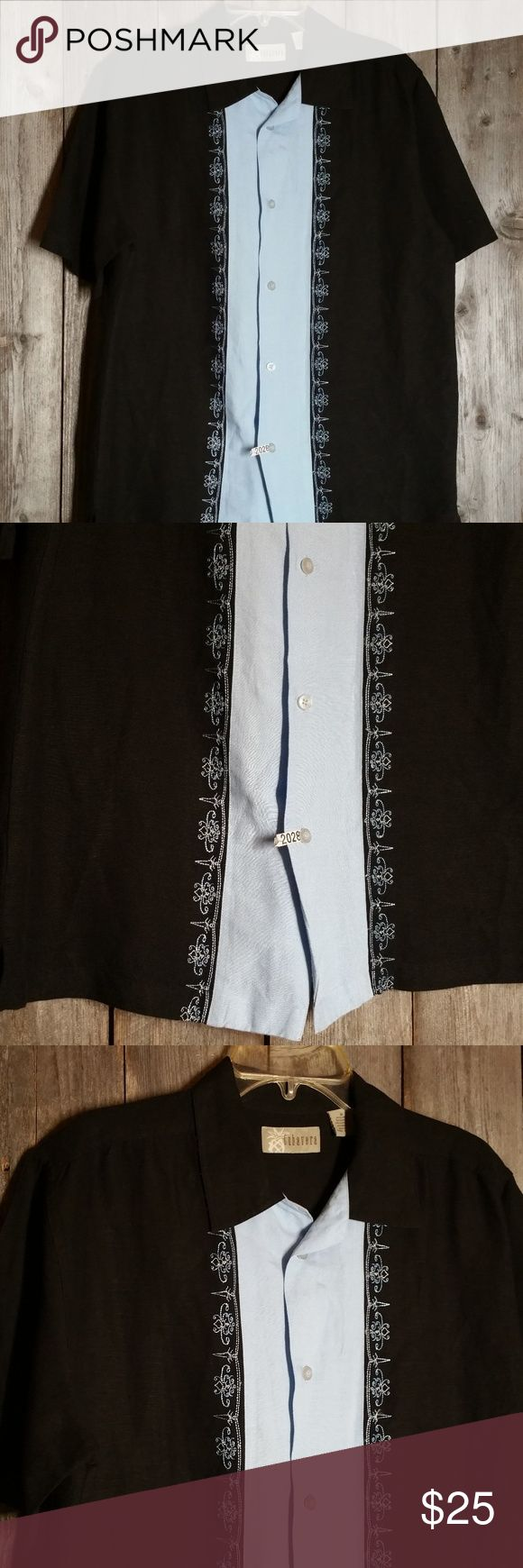 Cubavera Shirt Black Blue Camp Bowling Cuban Cigar Cubavera Shirt M Men's Black Blue Camp Bowling Cuban Retro Cigar Button Front Gently used Linen & rayon Approx chest 46 and from shoulder to hem 28 Cubavera Shirts Casual Button Down Shirts