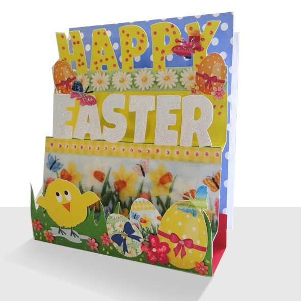 Pop Up Easter Card - Cute Chick 3d Handmade, Unique Greeting Cards Online, Buy Luxury Handmade Cards, Unusual Cute Birthday Cards and Quality Christmas Cards by Paradis Terrestre