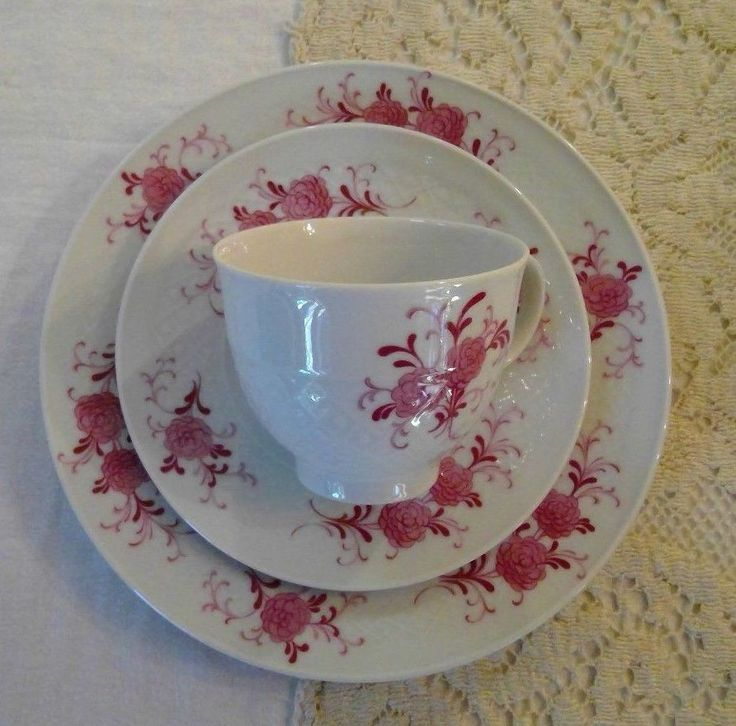 SELTMANN WEIDEN ANNABEL PORCELAIN PLATE TRIO SET of 3, CRANBERRY PINK FLORAL | Pottery & Glass, Pottery & China, China & Dinnerware | eBay!