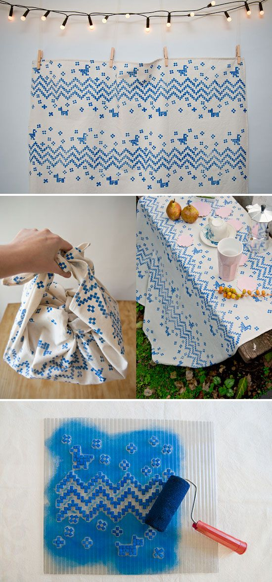 DIY tutorial - Hand printed textile design by Karen Barbé - Imaginativebloom.com Another use for Hama beads @Karen Jacot Jacot Jacot Chaplin