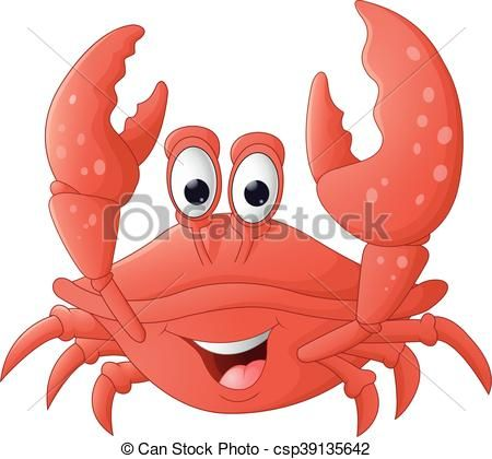 Vector - Funny crab cartoon - stock illustration, royalty free illustrations, stock clip art icon, stock clipart icons, logo, line art, EPS picture, pictures, graphic, graphics, drawing, drawings, vector image, artwork, EPS vector art