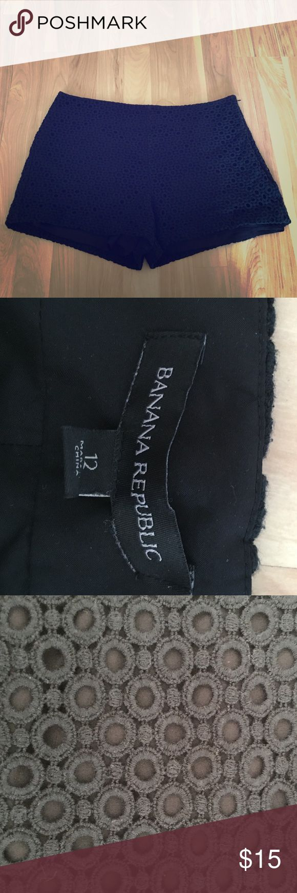 """Banana Republic shorts Banana Republic shorts black crochet.  Shorts measure 12"""" total length with 3"""" inseam Banana Republic Shorts"""