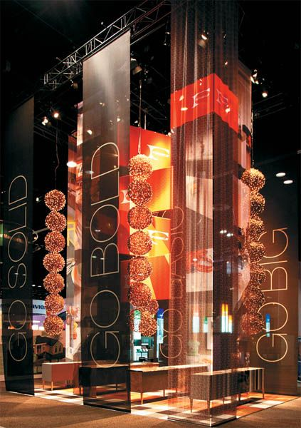 Nice floor to ceiling banners.  EXHIBITOR magazine - Article: Exhibit Design Awards: Material World, May 2012