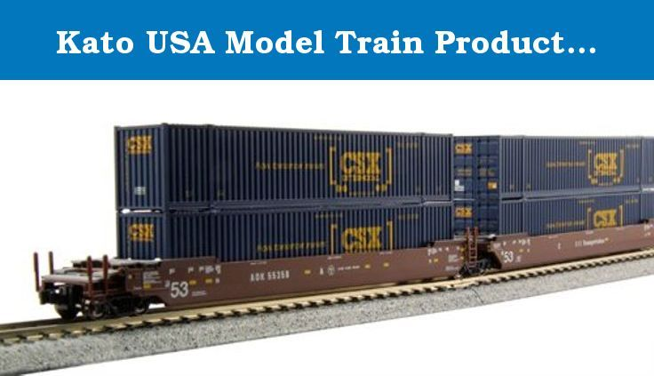 "Kato USA Model Train Products Gunderson MAXI-IV AOK #55358 Double Stack Car Set with CSX ""How Tomorrow Moves"" 53' Ribbed Containers, 3-Unit Set. Kato N Scale Gunderson Maxi-IV Double Stack Well 3 Car Set AOK 55358 with 6 53' CSX ""How Tomorrow Moves"" Containers... FEATURES: Provides stable operation with or without container loads due to Kato's new innovative heavier material steel compound plastic used for the construction of the well car, Each container has a magnet and a metal plate to..."