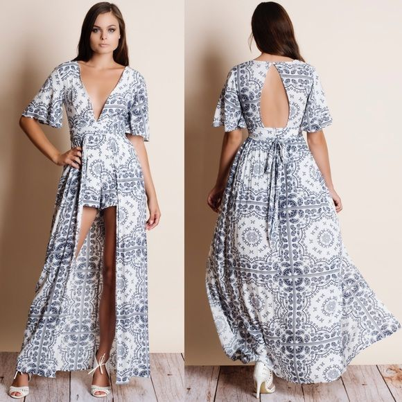 Printed Maxi Romper Dress Printed maxi dress with shorts. Junior sizing. This is an ACTUAL PIC of the item - all photography done personally by me. NO TRADES DO NOT BOTHER ASKING. PRICE FIRM. Bare Anthology Dresses Maxi