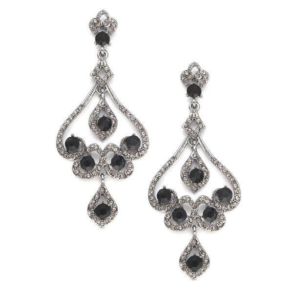 18 best prom earrings images on pinterest prom earrings crystal mariells jewel encrusted chandelier earrings with hematite etched scrolls shimmering with black diamond and jet crystals they measure 3 h mozeypictures Image collections