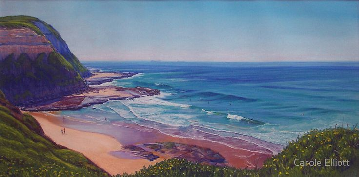 "SOLD - ""Susan Gilmore Beach, Newcastle"" - Soft pastel on sanded paper by Carole Elliott #art #australianart #pastel #carolelliott7 #seascape #newcastle #beach #ocean"